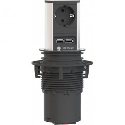 Colonne prise ELEVATOR 1xCEE7/3 1xUSB Charger Strom 2m