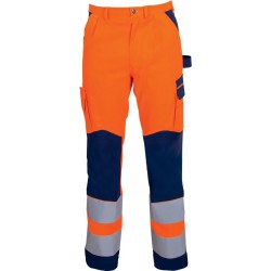 Pantalon HV, MG, Taille 58, orange fluo/bleu